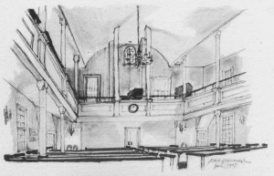 Drawing of church interior